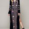 Black embroidery floral tie front 3/4 sleeve side split dress