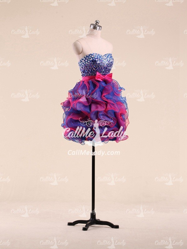 Sexy beading ruffles short prom dresses/ homecoming dress/ party dress/ cocktail dresses - CallMeLady