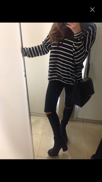 jeans blouse stripes black and white tumblr tumblr outfit tumblr girl