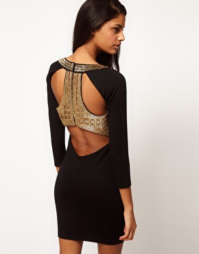 ASOS | ASOS Body-Conscious Dress With Embellished Back at ASOS