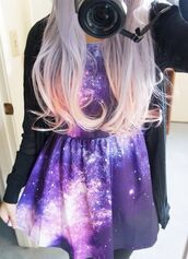 dress,galaxy print,pink,blue,black,green,purple,pretty,cute,grunge,pastel,galaxy dress,tumblr,soft grunge,pastel grunge,grey,goth hipster,fluffy,cool,90s style,goth,pastel goth,sweater,purple dress