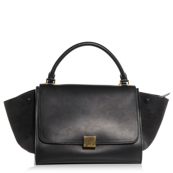 Celine calf leather and suede small trapeze luggage navy blue