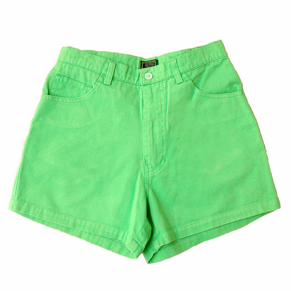 Neon Green High Waist Shorts by shopstillill on Etsy