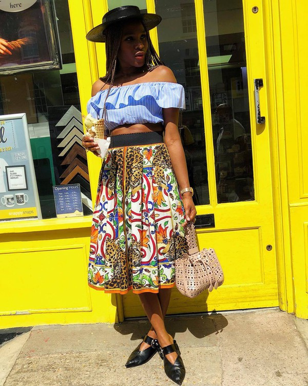 top crop tops blue crop top skirt colorful skirt shoes flats hat
