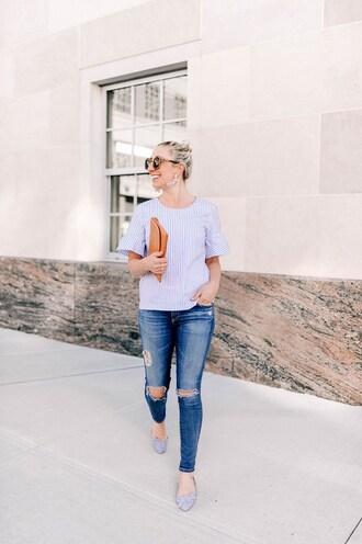 lemon stripes blogger shirt jeans jewels sunglasses clutch