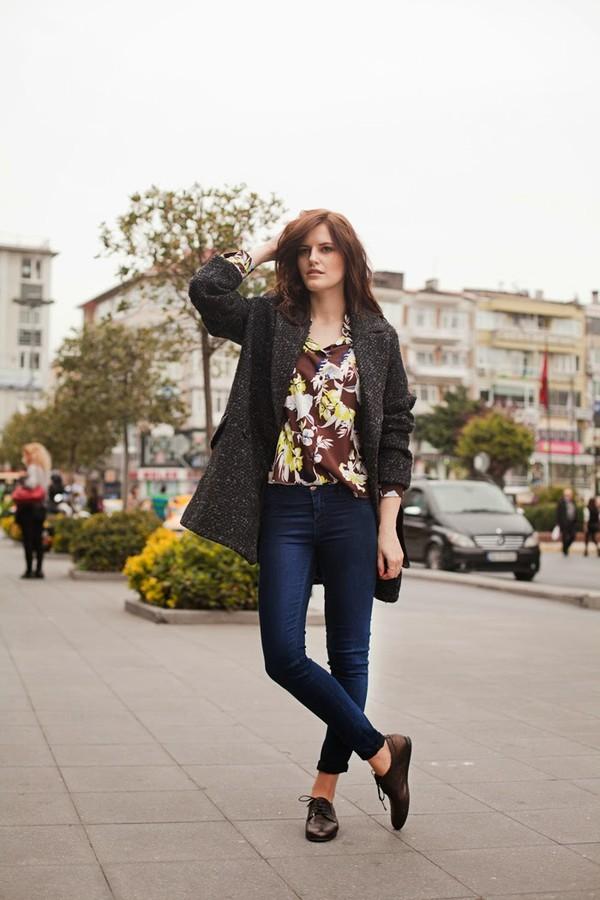 the bow-tie blouse coat jeans bag shoes