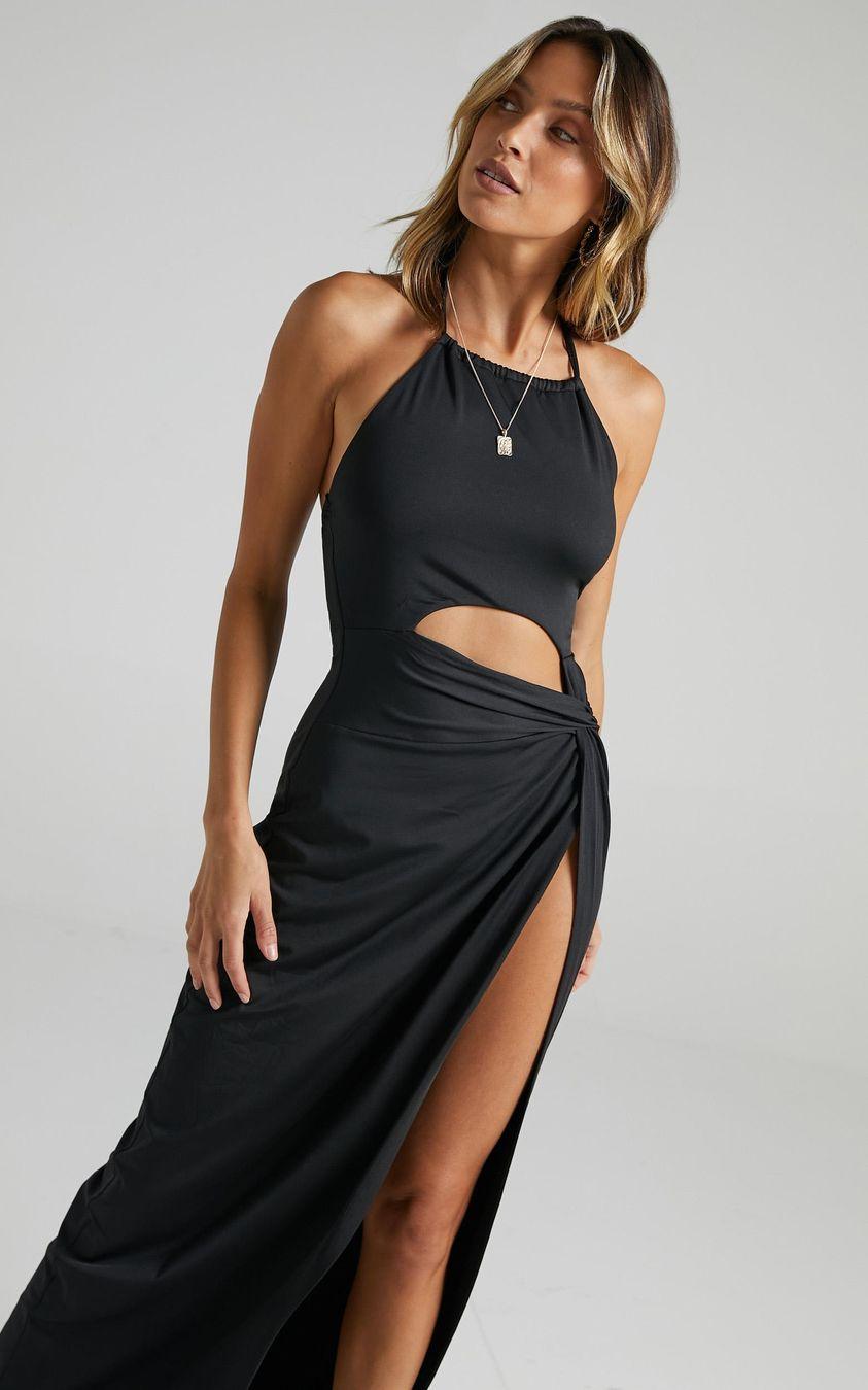 Zenya Twist Maxi Dress in Black