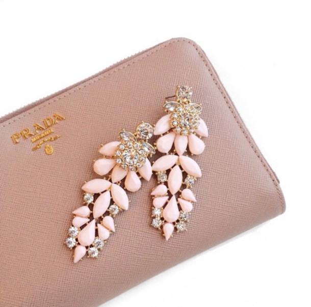 jewels jewerly light pink pink gold glitter diamonds earrings
