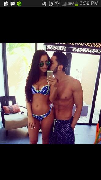 swimwear polka dot bikini cute polka dots blue swimwear perfect