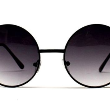 "V105-vp 2"" Lens Vintage Retro Round Circle Metal Sunglasses (Sd Black W Pouch, Uv400) on Wanelo"