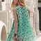 Country style scoop collar sleeveless floral print mini sun dress for women