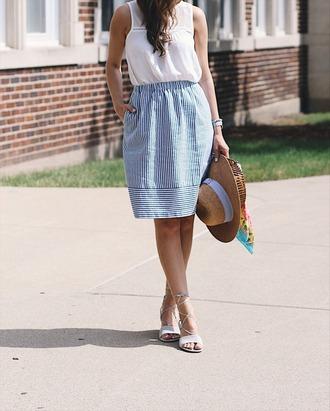 skirt hat tumblr midi skirt blue skirt stripes striped skirt top sleeveless sleeveless top sandals sandal heels high heel sandals shoes