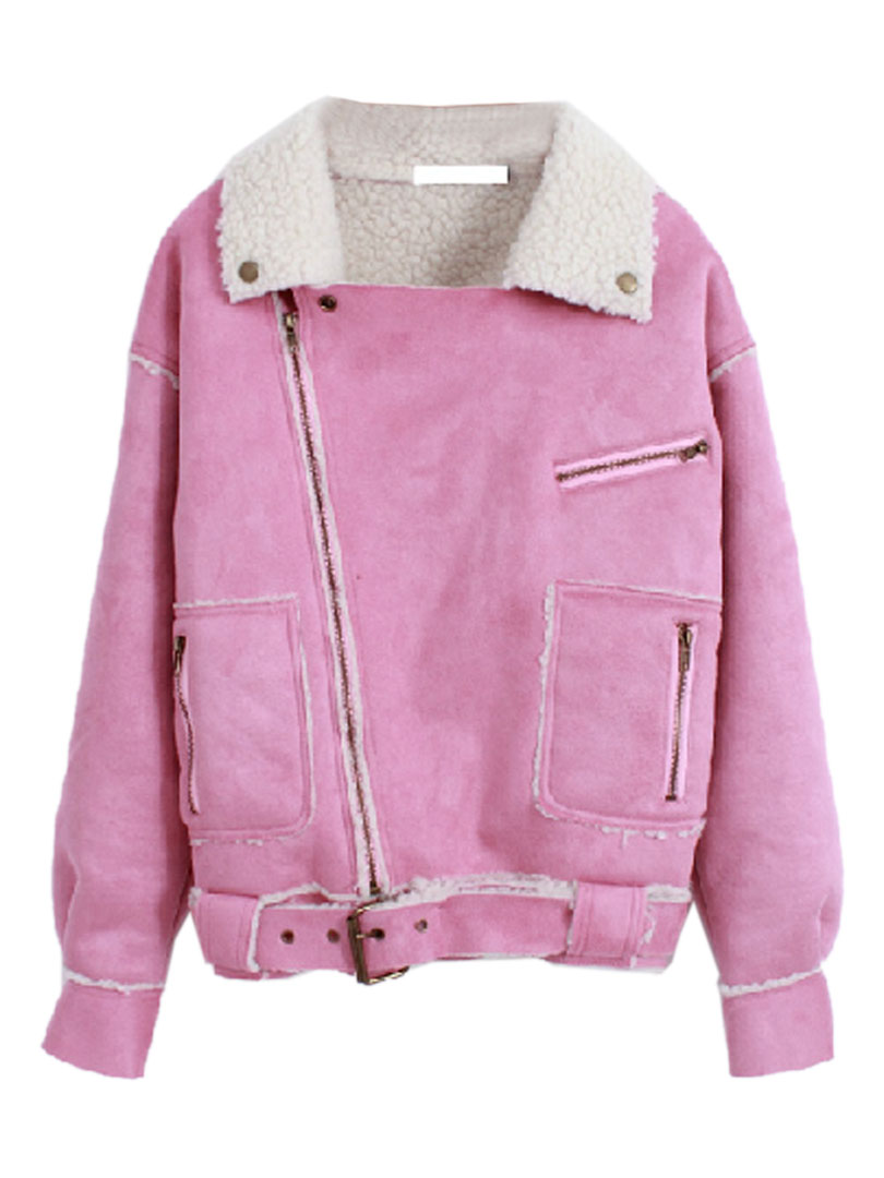 Pink faux shearling short coat with waist belt