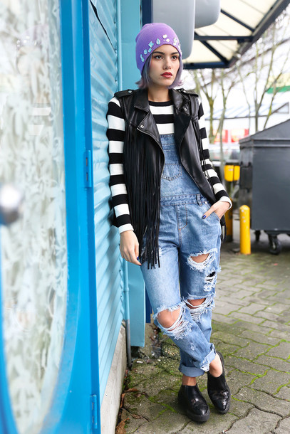 xander vintage blogger knitted beanie denim overalls striped sweater vest