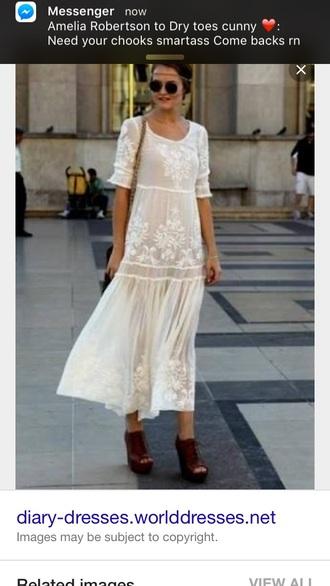 dress cream white lace boho bohemian boho dress bohemian dress