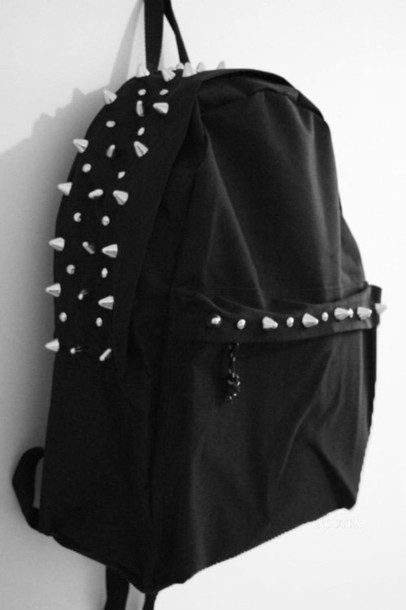 bag black studs home accessory punk rock studded backpack school bag
