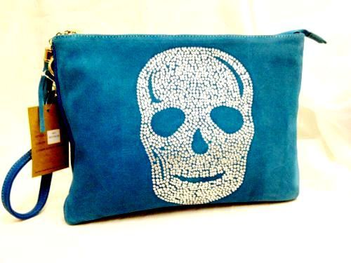 Envelope style clutch bag with rhinestone skull design very sparkly!!