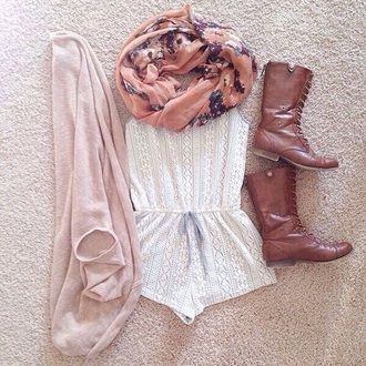 romper cute lace romper lace white romper white scarf boots brown boots cowboy boots cardigan pink pink cardigan girly boho