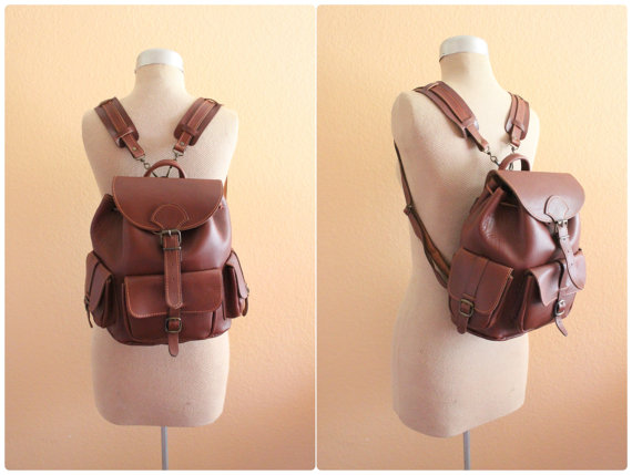 Vintage Brown Leather Backpack  Made in Greece / by grassdoll