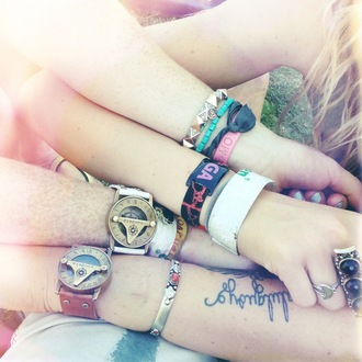 jewels bracelets watch hippie indie festival tattoo music festival