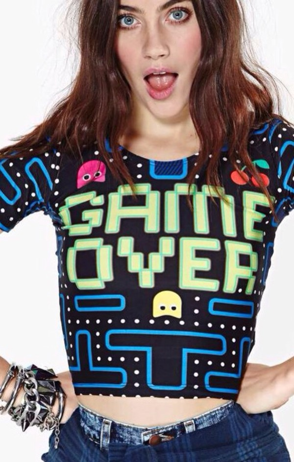 tank top crop tops tank top game over gamer pacman crop tops shirt