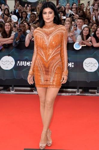 dress sequin dress shoes high heels orange dress mini dress clothes-dresses orange long sleeve dress long sleeved dress beautiful dresss