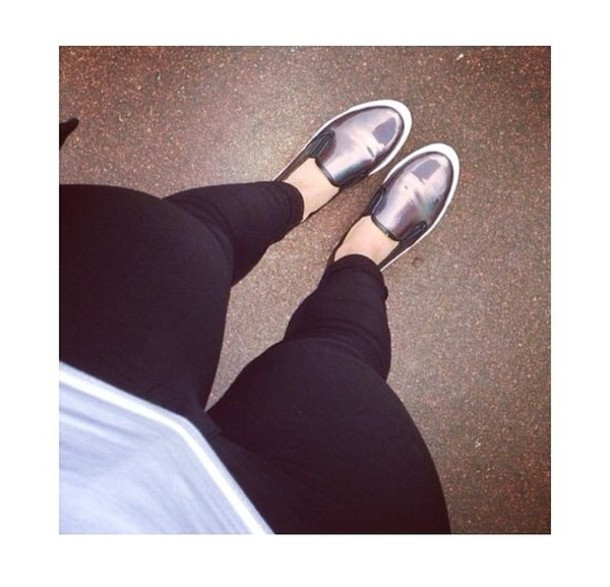 shoes, slip on shoes, silver, metallic