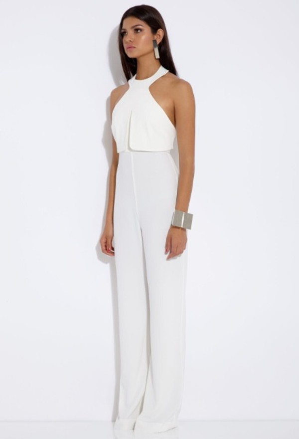 jumpsuit white casual fashion jewels classy style