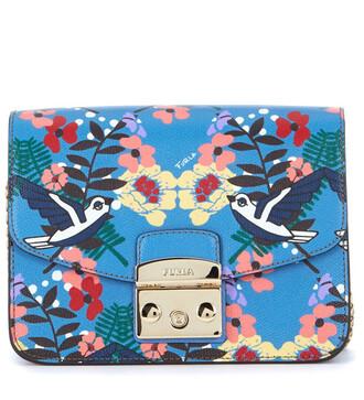 birds bag shoulder bag flowers leather blue