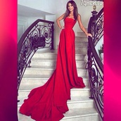 dress,red prom dress,gown,red dress,train dress,celebrity,red long prom dress