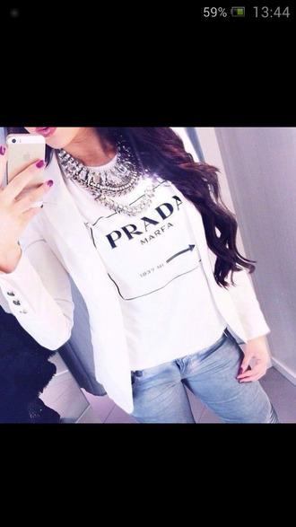 t-shirt tee-shirt prada white