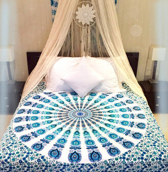 home accessory boho bedding dreamcatcher mandala blue