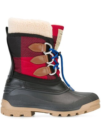 boots duck boots tartan black shoes