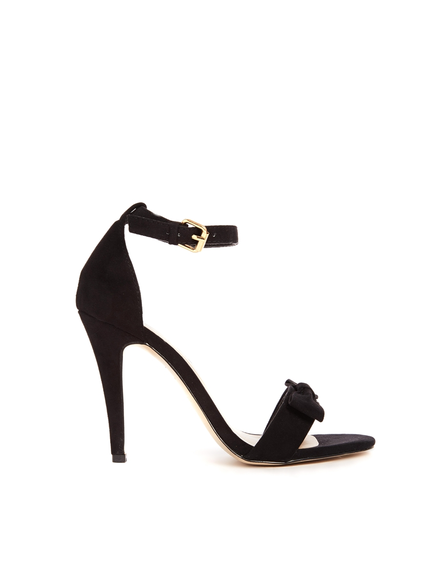 New Look Present Black Bow Barely There Heeled Sandals at asos.com