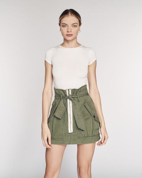 Hannah Herringbone Canvas Skirt in Military Green | Bottoms | MARISSA WEBB