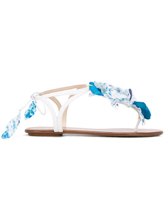 women sandals flat sandals leather white shoes