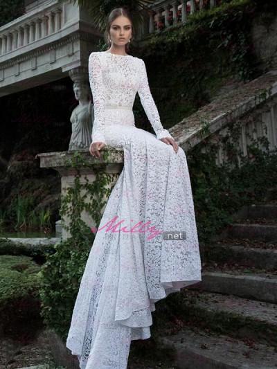 Buy scoop long sleeve natural 2015 wedding dress at millybridal.net