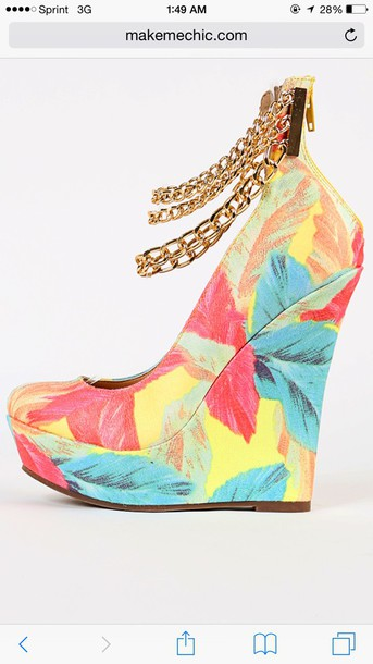 shoes colorful wedges with gold chain around ankle  and zipper in the back