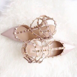 shoes heels nudes cream creme spikes studded shoes straps light color womans fashion cute