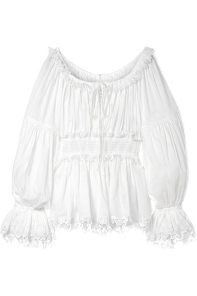 Dolce & Gabbana top lace white cotton
