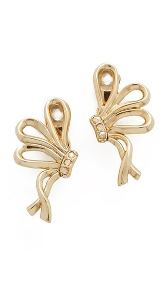 bow light earrings gold jewels