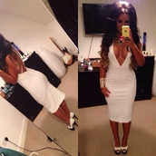 dress,nicole morris,white dress,midi dress,deep v dress,low back dress