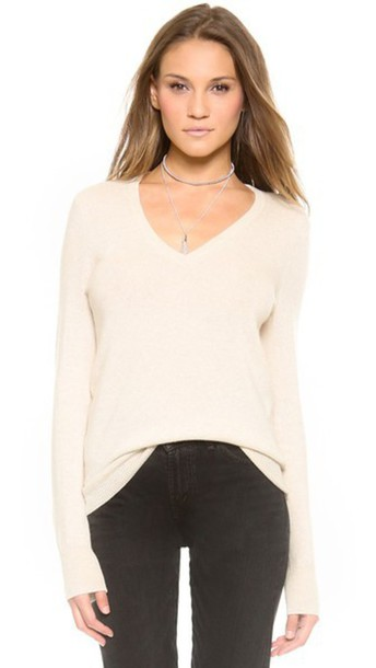 Equipment Cecile V Neck Cashmere Sweater - Heather Oatmeal ...