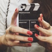 print,quote on it phone case,technology,black and white,red nails