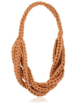 braided necklace cotton orange jewels