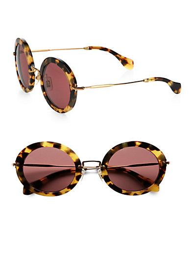 Miu Miu - Retro Noir Round Acetate Sunglasses - Saks.com