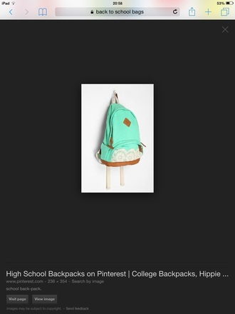 bag it's a mint green and white lace backpack