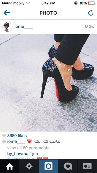 christian louboutin stilettos high heels leather black red soles black high heels