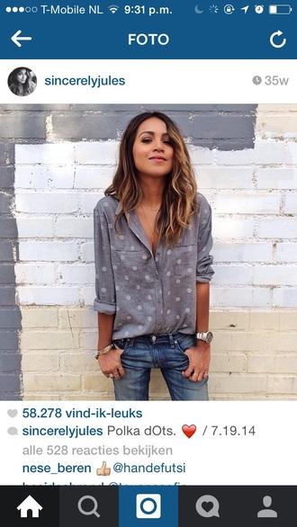 blouse dots grey