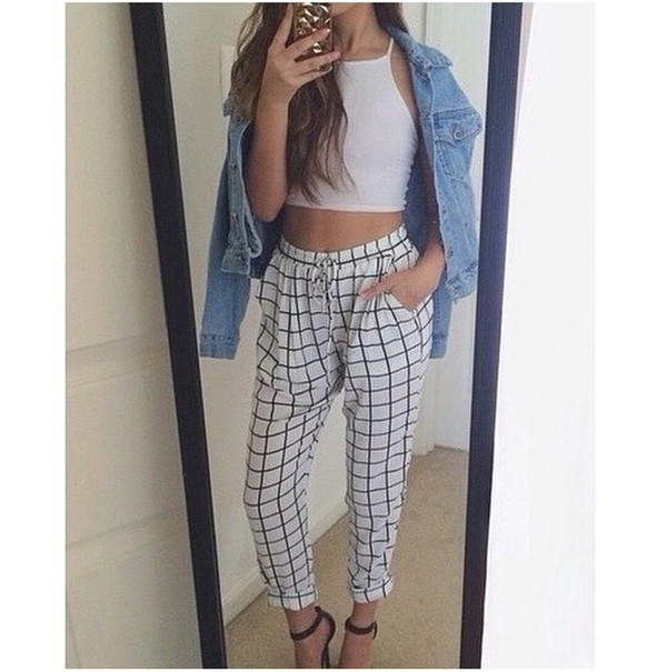 Pants Sweats Sweatpants Grid Grid Jeans Denim Jacket